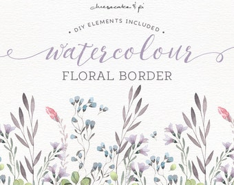 Watercolor Floral Border Painted Wreath Clipart Wedding Invitation Clip Art Commercial Use