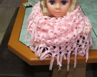 Closed scarf or snood pink acrylic - openwork patterns and fringes