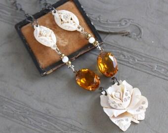 Celluloid rhinestone  bridal wedding  assemblage necklace antique brooch pendant jewelry stunning vintage antique topaz amber victorian