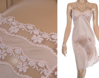 Beautiful 70's vintage pretty silky soft shimmering shell pink nylon and matching floral embroidered lace detail full slip petticoat - S358