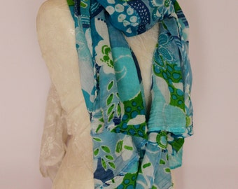 Upcycled Turquise/Lime Autumn Foulard, Autumn SCARF, Trendy, Casual  Scarf