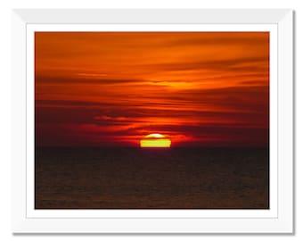 Ocean Sunset, Red Sunset, Setting Sun, Photograph Print, Sunset, Clouds, Sky, Printable Art, Home Decor, Instant Download, Wall Art