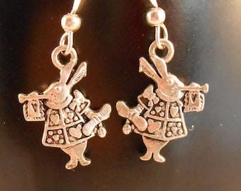 Wonderland rabbit earrings,metal rabbit earrings,silver rabbit earrings,fantasy and woodland earrings