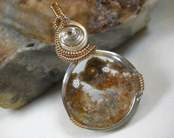 """A Grade Lodolite """"Garden Quartz"""" Pendant in Sterling Silver and Rose Gold Filled Wire"""