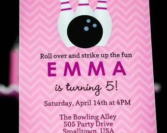 Bowling Party Invitation in Pink and Purple - INSTANT DOWNLOAD Girls Bowling Invitation by Printable Studio
