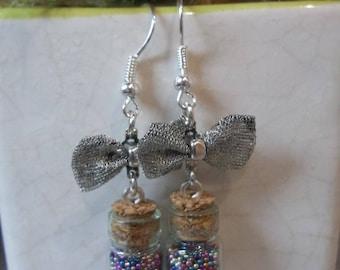 Sandblasted glass jar earring
