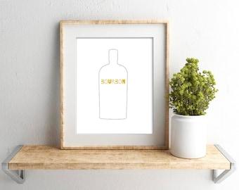 Bourbon Bottle Print // Bar Cart Art