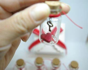 You have the key to my heart, Valentine's day gift, Gifts for him, Gifts for her, Mini glass bottle,