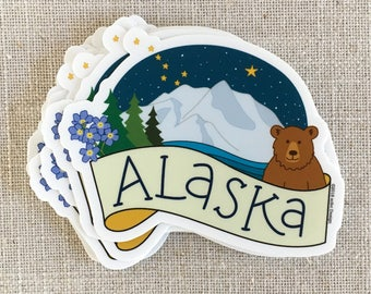Alaska Vinyl Sticker / Denali / Forget Me Not Flower / Alaska State Gift / Grizzly Bear / Cool Water Bottle Sticker / Alaska Night Sky