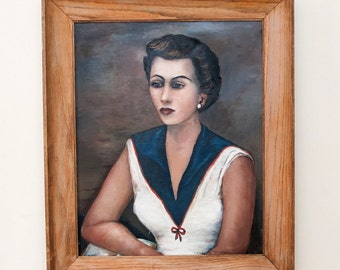 1940s Lady Oil Portrait Painting of Woman on Canvas, signed