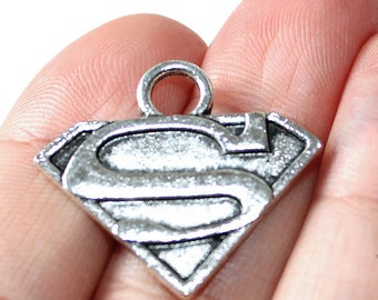 2 Superman Charms Antique Silver Tone