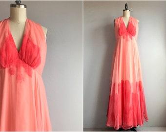 Vintage 70s Lillie Rubin Dress / 1970s Hand Painted Ombre Evening Dress / Designer Vintage Maxi Dress