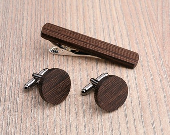 Wooden tie Clip Cufflinks Set Wedding Wenge Round Cufflinks. Boyfriend gift, Personalization gift. Gift for him. Groomsmen Cufflinks set.