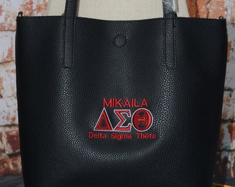 Delta Sigma Theta Sorority Personalize Handbag - Monogrammed Embroidery Faux Leather Tote - Magnetic Closure bag - Personalized Gift -