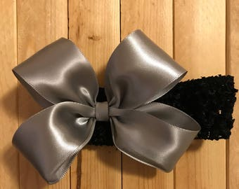 Silver Satin Boutique Bow on Headband