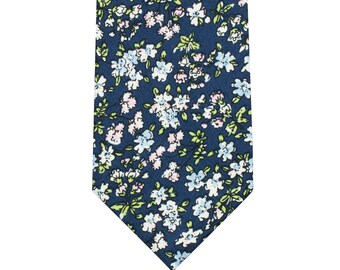 Cotton Floral Ties in Blue