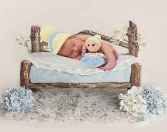 Cinderella Disney Princess Inspired Infant Newborn Baby Outfit Wig Beanie Hat Doll Toy Amigurumi Crochet Photography Photo Prop