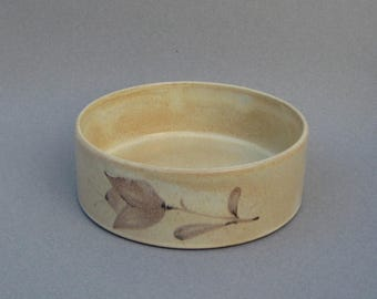 Eiderbloom Ceracron Bowl Melitta Germany Modern Creamy Beige Stoneware 1970s Vintage German Ceramic Serving Dish