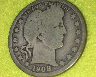 1908-D Barber Quarter Original  <> Coin you see is Coin you get / Free S&H on this order  <>#BCE-545