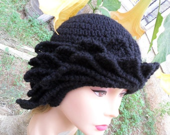 Hat 30s. Crochet wool woman hat. Cloche with decorations