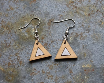 Wood pendant earrings triangle shape silver color detail, geometric design style rock chic, jewel made in France Paris, art deco inspiration