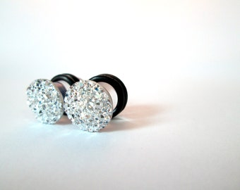 Silver Sparkle Druzy Plugs - Available in 4g, 2g, 0g, and 00g