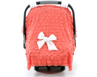 Carseat Canopy Girl - Coral - Carseat Canopy - Gold Dot Collection