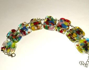 multicolor fuse glass bracelet