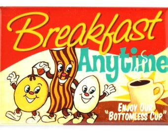 Bacon, Eggs, and Coffee Sign Fridge Magnet