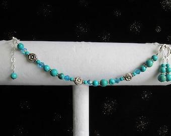 Genuine Aqua Blue Turquoise Gemstone, Crystal, and Bali Sterling Silver Bracelet & Earring Set 1