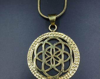Seed of life brass pendant