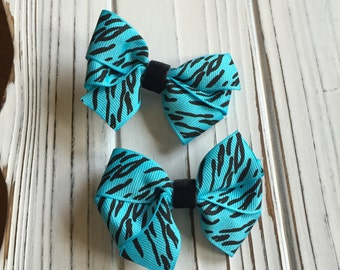 "Teal / Blue and Black Zebra Stripe ""NFL Panthers"" Hair Bow Set"