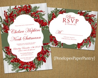Elegant Christmas Wedding Invitations,Rustic, Red and Green Wreath,Shimmery,Traditional,Customizable,Printed Invitations,Invitation Sets