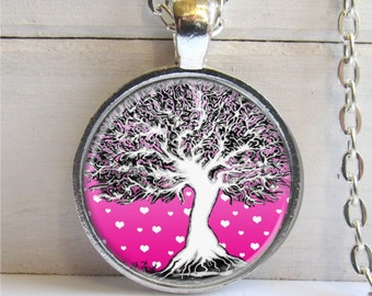 Whimsical Tree Necklace, Pink Pendant, Art Pendant, Tree Jewelry