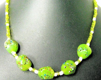 Green Lampwork Beaded Necklace With Green And White Support Seed Beads - Item 881 N