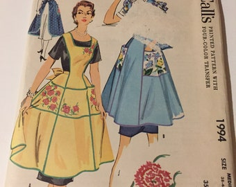 OOP HTF  Vintage Sewing Paper Pattern Apron NEW uncut factory folded size medium McCalls 1994