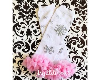Ready to ship- Christmas Leg warmers, Holiday Leg warmers,  Baby Girl Leg warmers-Snowflake Leg warmers, Ruffle Leg warmers, Christmas