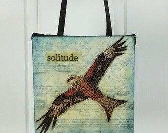 Solitude - Soaring Hawk Word Art Ornament Woodland Wild Bird Beeswax Collage Miniature Art