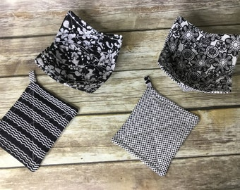 Black and White Microwave pot holders and bowl cozy set 100% cotton