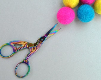 Titanium plated stork embroidery scissors