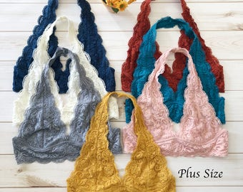 PLUS Size Scalloped Halter Lace Bralette - More colors, plus size lacy bra crop top XL XXL, halter neck bralettes