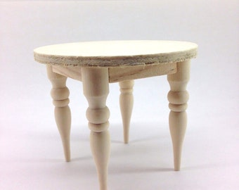 Miniature Unfinished Wood Round Table W/ Spindle Legs For Dollhouse 1:12