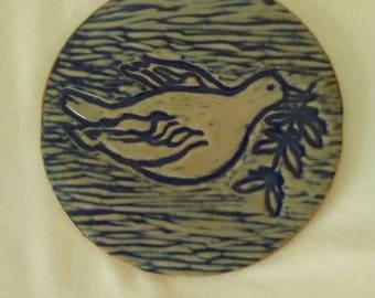 Peace Dove with Olive Branch Hippie Era Ceramic Tile