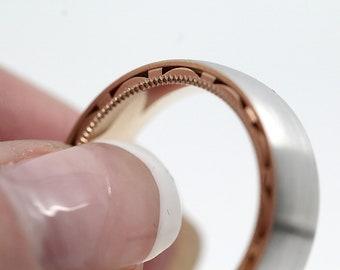 6mm Gold, 10k 14k 18k,Wedding Band, Edge Gold Ring, Filigree Edge Ring, Ring for Men, Mens Wedding Ring, Filigree Gold Ring, Big sizes rings