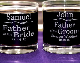 1 Personalized Engraved Wedding Party Glass for the Groomsmen, Best Man, Usher, Father of the Bride/Groom, Bachelor Party Gift,