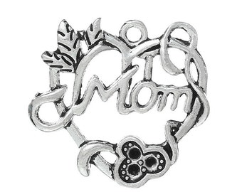 """5 Pieces Antique Silver """"Mom"""" Carved Hollow Heart Charms"""