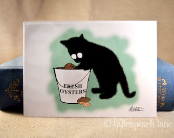 Black Cat and a Bucket of Oysters - Illustrated Blank Greeting Card