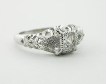 1930s Style Ring In Sterling Silver with Simulated Diamonds