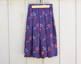 Retro Flare Skirt - Abstract Skirt - Purple Floral Skirt - High Waist Midi Skirt - Vintage Pastel Goth Skirt - Lolita Skirt - 80s Mod Skirt