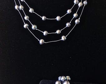 Gray Pearl Multistrand Necklace and Bracelet Set